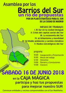 """Segundas Jornadas del Sur: """"Asamblea por los barrios del Sur. Un Río de propuestas. Por un Plan Estratégico del Sur madrileño""""."""
