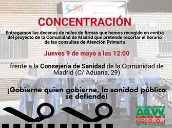 """56.129 madrileños y madrileñas dicen """"no"""" al recorte horario para la Atención Primaria en los Centros de Salud."""