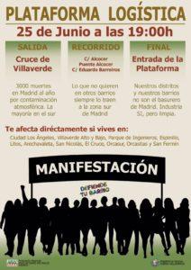 Una Nueva manifestación vecinal contra las obras de la Planta Logística de Villaverde. 25 de Junio de 2019