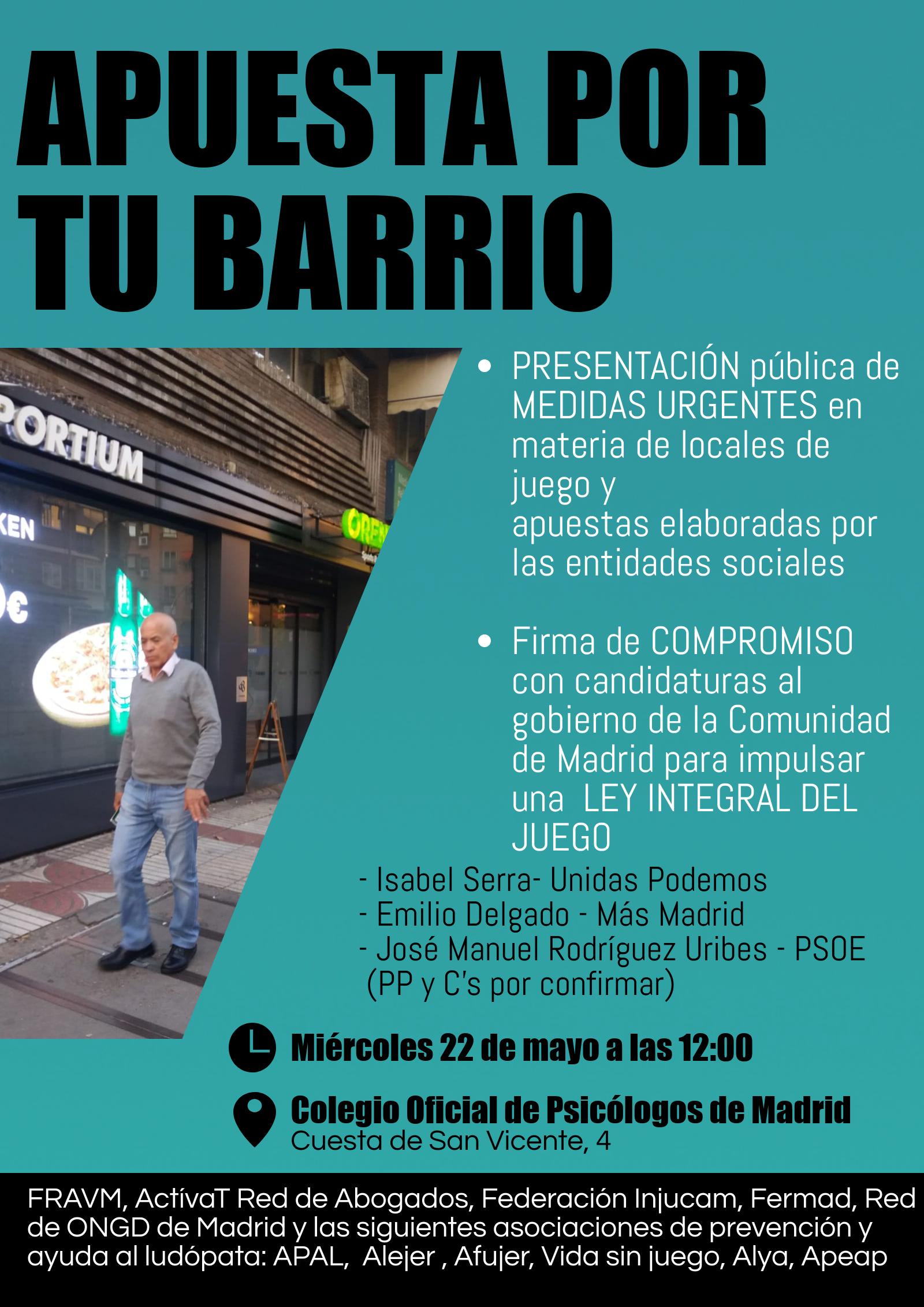 Necesitamos el compromiso de los partidos para aprobar una Ley Integral del Juego en la Comunidad de Madrid