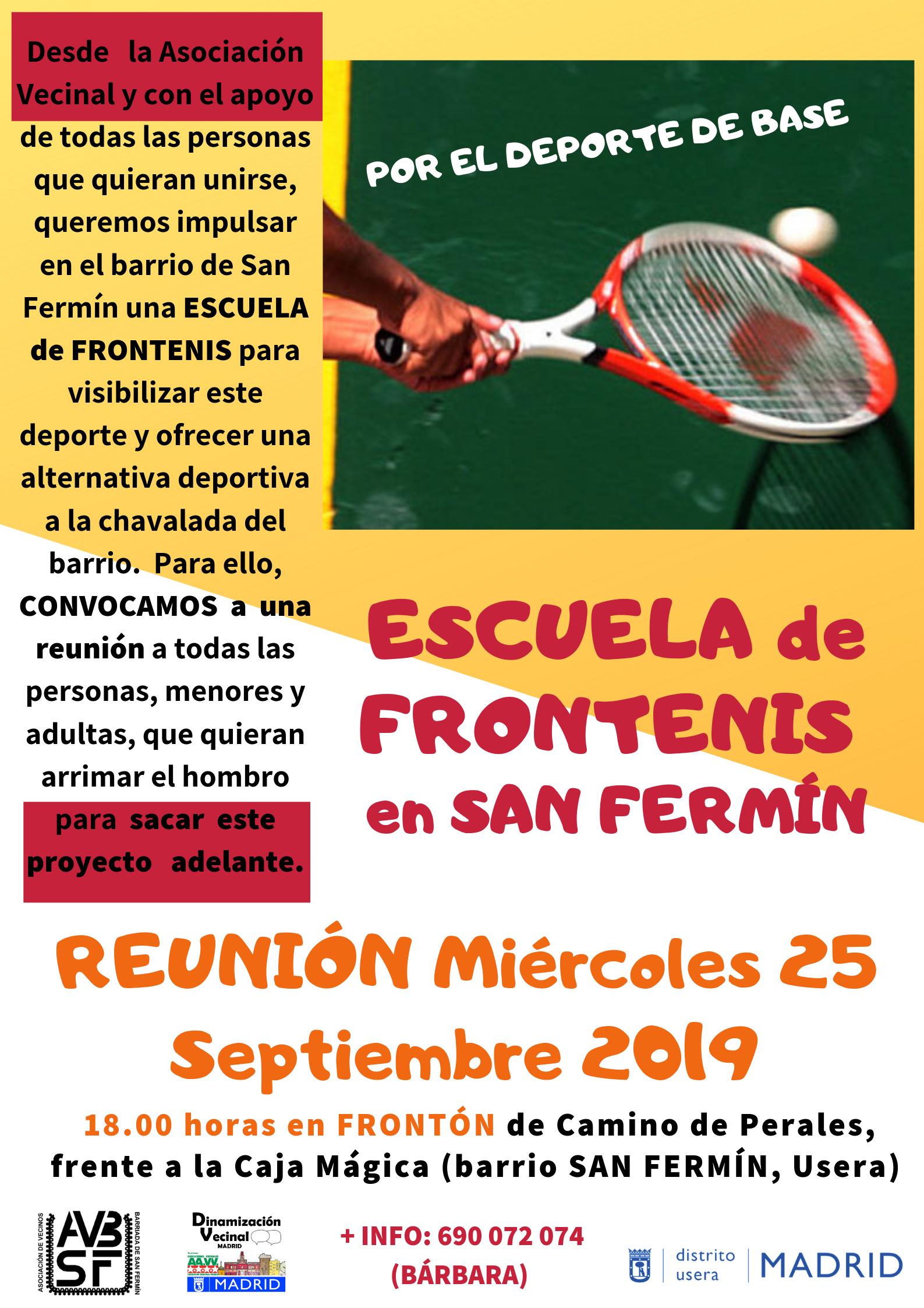 Escuela de Frontenis en San Fermín