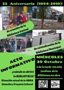 25 Aniversario (1994-2019) de la creación de la Biblioteca Vecinal y de la reivindicación de la Biblioteca Municipal.