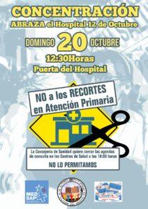 Contra el recorte horario en los Centros de Salud-CONCENTRACIÓN EN EL 12 DE OCTUBRE EL DOMINGO DÍA 20 A LAS 12:30