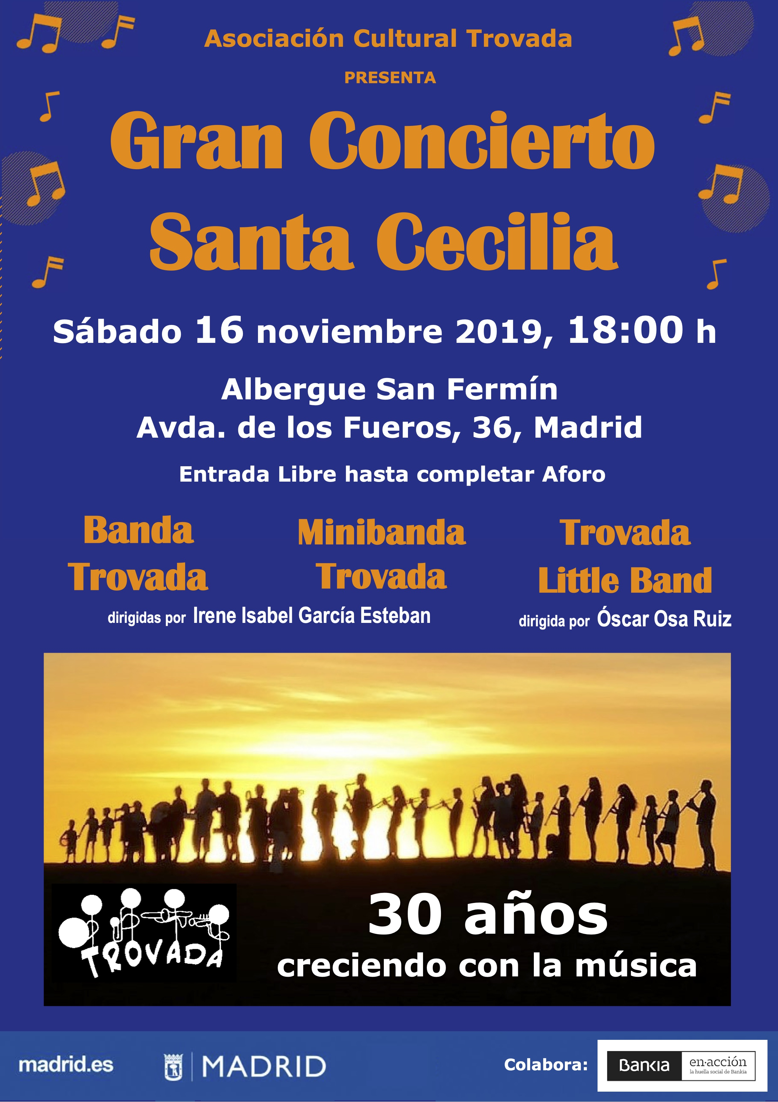 """Gran Concierto de Santa Cecilia por las Bandas musicales de la Asociación Cultural """"TROVADA"""". Sábado 16 de Noviembre."""
