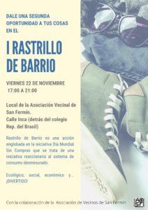 I Rastrillo de Barrio. Una nueva iniciativa vecinal para el fin de semana, viernes día 22 de Noviembre
