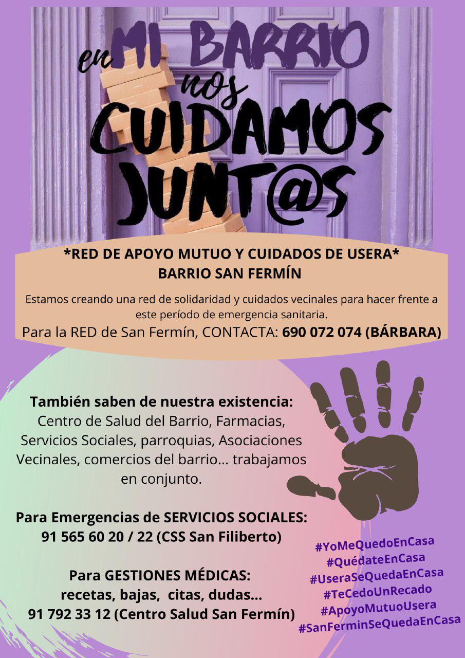 Red de apoyo vecinal. Un reto en el que todos los Vecin@s de #BarrioSanFermin podemos participar