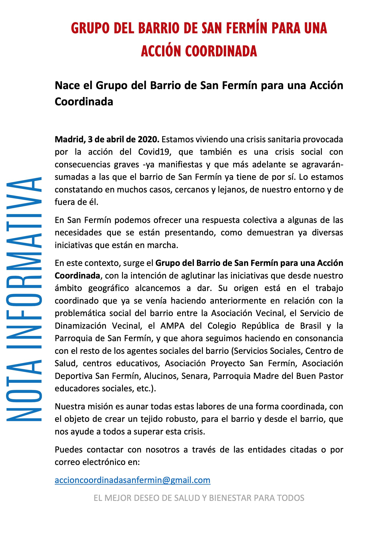 NOTA INFORMATIVA: GRUPO DEL BARRIO DE SAN FERMÍN PARA UNAACCIÓN COORDINADA