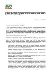 Carta de la FRAVM a  la atención del Alcalde de Madrid, D. José Luis Martínez Almeida, la Vicelcaldesa de Madrid, Da Begoña Villacís Sánchez y el Delegado del Área de Gobierno de Familias, Igualdad y Bienestar Social, D. José Aniorte Rueda.