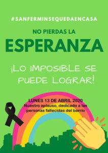 Aplauso solidario el lunes 13, a las 20:00 horas en recuerdo a las personas fallecidas del barrio
