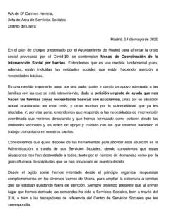 Carta de las AAVV de Usera dirigida a la Jefa de los Servicios Sociales del Distrito de Usera