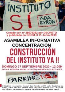 ASAMBLEA-CONCENTRACIÓN POR LA CONSTRUCCIÓN DEL INSTITUTO ADA BYRONEN EL BARRIO DE SAN FERMÍN