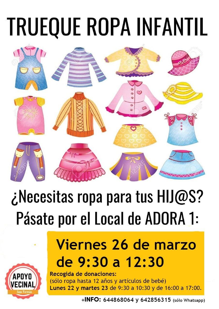 TRUEQUE DE ROPA INFANTIL: EL DÍA 26 DE MARZO EN EL LOCAL DE ADORA, 1