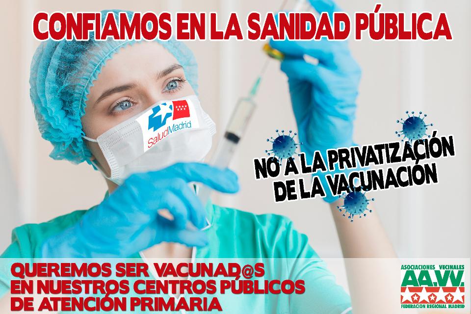 74 asociaciones vecinales piden al Gobierno de Ayuso que vacune de la Covid-19 en los centros de salud