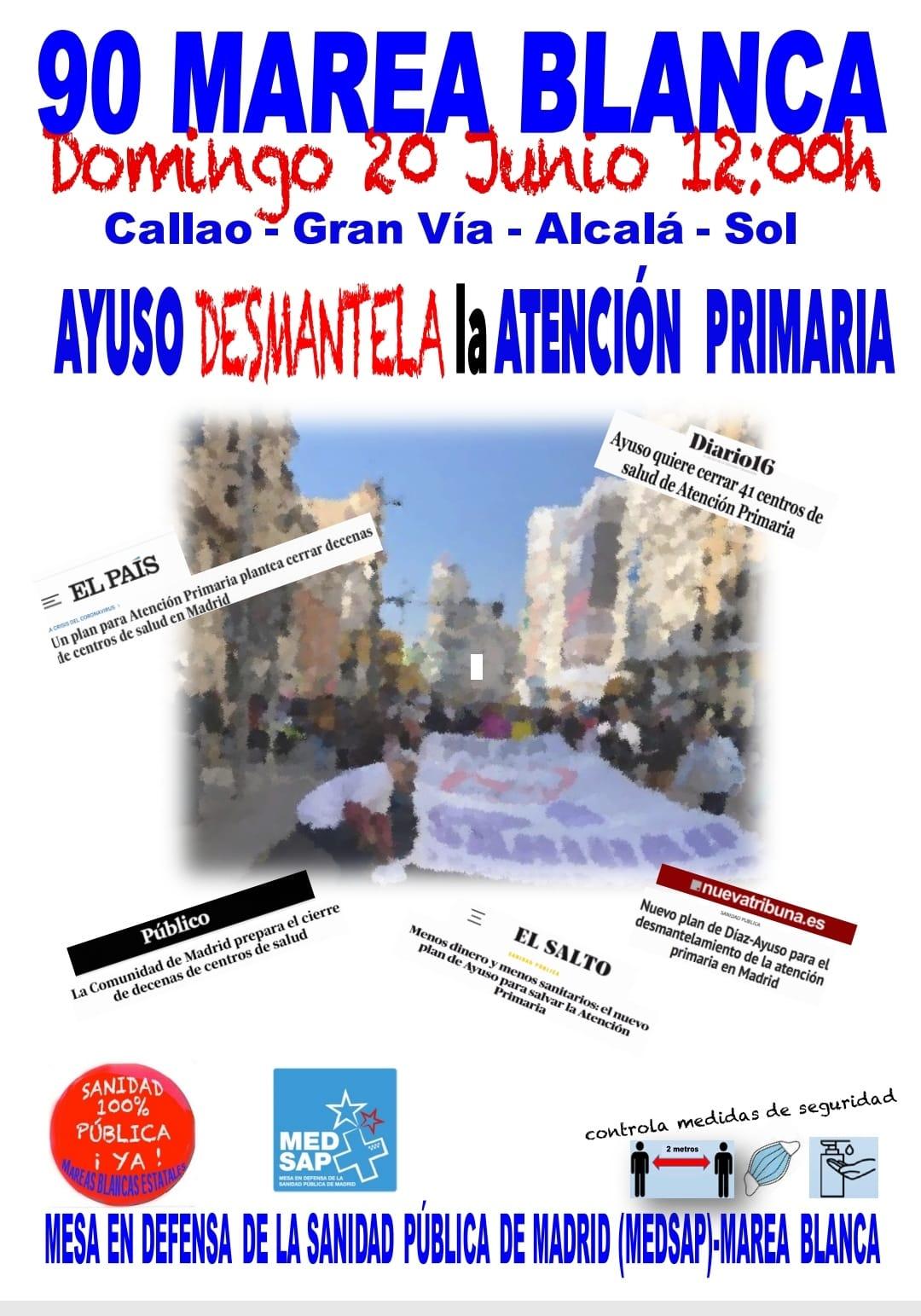 MANIFESTACIÓN EN DEFENSA DE LA ATENCIÓN PRIMARIA Y CONTRA EL CIERRE DE LOS CENTROS DE SALUD.